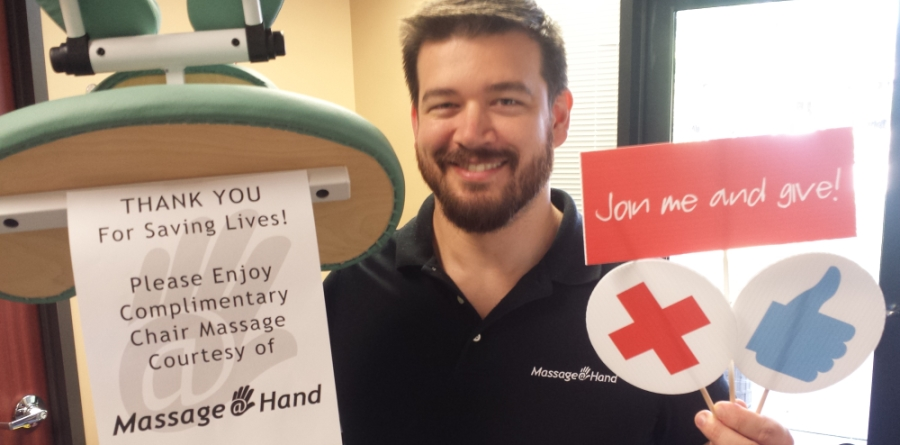 Massage At Hand provides Complimentary Chair Massage for Red Cross Blood Donors